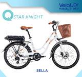Bici eléctrica del color clásico del oro con el sistema de mecanismo impulsor elegante