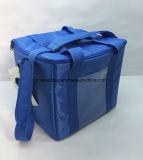 Blaue Nylonfarben-großer thermischer Kühlvorrichtung-Beutel mit Nackenband mit Halterung