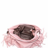 Großer rosafarbener Franse-Frauenhobo-Beutel (MBNO041052)