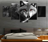 HD a estampé la toile observée rouge Mc-056 d'illustration d'affiche d'impression de décor de pièce d'impression de toile de peinture de loup