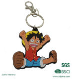 Pvc Keychain van Luffy van de douane met Aangepast Embleem voor Bevordering
