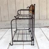 Vielseitiges faltbares Holz des Eisen-2-Tiers und Metallblumen-Potenziometer-Zahnstange für Tisch