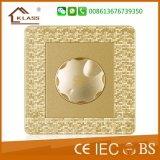 Mosaico estándar británico Golden One Gang interruptor de pared plana