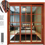 Гуанчжоу алюминиевых материалов рамы двойной лист стекла боковой сдвижной двери с горизонтальным жалюзи