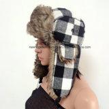 Chapeau d'hiver de trappeur russe de vente chaude avec tissu d'impression de chèque