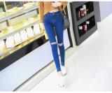 Jeans maigres extensibles de denim de taille élevée de dames de mode d'OEM