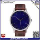 Yxl-407一義的なデザイン方法贅沢な男性用腕時計の水晶青いダイヤルの革腕時計の流行チャーミングな手ビジネスカスタム腕時計の人