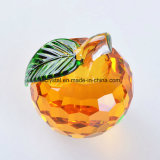 60mm Pink Crystal Glass Faceted Apple Paperweight para Decoração