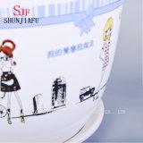Piantatrici succulenti di ceramica del reticolo sveglio della ragazza, Flowerpots rotondi, un insieme di 3