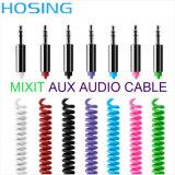 Дешевый кабель аудиоего спирали 3.5mm специального предложения цены цветастый микро-