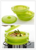 Cestino Steaming/contenitore del platino del commestibile dell'alimento di plastica del silicone