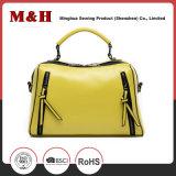 노란 고품질 여자 가죽 손 및 어깨에 매는 가방