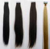 接着剤のペルーの毛ブロンド20PCSの倍によって引かれるテープ毛の拡張毛のRemyのまっすぐな束の織り方