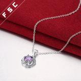 卸し売り方法紫色のジルコンの銀によってめっきされるネックレス18インチの