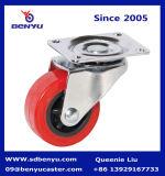 Feuergebührenrot PU-Fußrolle mit seitlicher Bremse