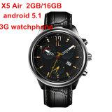 O RAM esperto 2GB/ROM 16GB Mtk6580 do relógio do ar X5 novo de julho Dual o Android 5.1 3G Bluetooth Smartwatch de Watchphone do núcleo para Andorid/Ios