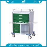 Chariot Emergency vert-foncé à chariot d'hôpital d'AG-GS006 Ce&ISO