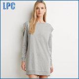 Laço de algodão de manga comprida vestido de camisa de mulher