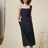 Moda mujer bolsillo de lino Backless vendaje vestir traje vestido