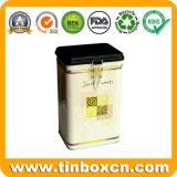 Contenitore dello stagno del caffè di rettangolo con il commestibile, contenitore di stagno del caffè
