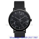 Whit van de Horloges van het Roestvrij staal van de hoogste-kwaliteit Marmeren Wijzerplaat, Echte Band ja-15064 van het Leer