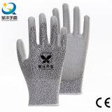 Уровень 3 или 5 перчатки безопасности PU сопротивления отрезока PU004 Coated