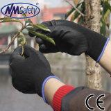 Перчатки работы агрегата PU Nmsafety черные Coated