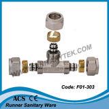 T uguale dell'ottone/montaggio d'ottone di compressione per il tubo di Pex-Al-Pex (F01-303)