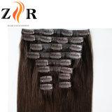 人間の毛髪の暗い色のインドの毛の倍によって引かれるクリップ
