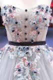 Flor 3D Strapless que perla o vestido de noite nupcial Wgf158 de Ballgown