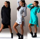 Mulheres Inverno Algodão Rodada Pescoço Vestido Casual de manga comprida