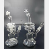 De witte, Transparante Spiraalvormige Waterpijp van het Glas van de Filter van de Pijp