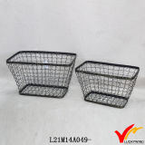 Rustic Double Handles Metal Handmade Decorative Wire Basket