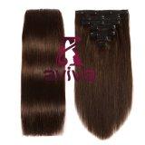 Clip de Precios al por mayor de 14 pulgadas de extensión de cabello humano Clip Extensiones de Cabello 7piezas 16clips para Head Set completo (AV-CH05-2#)