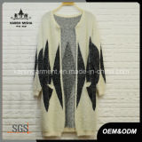 Ladies Diamond Pattern Fuzzy Knitting Cardigan Sweater Overcoat