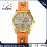여자 시계 (DC-631)를 위한 선물 크리스마스 금시계 석영 운동 시계 다이아몬드 실리콘 결박 시계