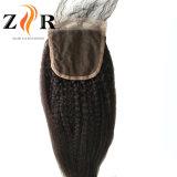 4 X 4 Kinky droites cheveux vierges de la Dentelle fermetures brésilien