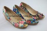 Chiffon robe de filtre en coin de la flore supérieure Chaussures femmes