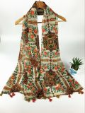 Voile neuve France du type 100%Cotton dénommant l'impression avec la longue écharpe frangée de mode