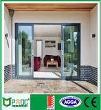 Pnoc puerta corredera en aluminio de doble acristalamiento de puertas y ventanas de aluminio con revestimiento de polvo blanco