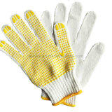 Желтый ПВХ пунктирной белый хлопок вязаные рукавицы