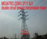 Doppia torretta della trasmissione di tensionamento del circuito di Megatro 220kv 2f11 Sj1