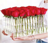 Acrílico transparente personalizada Luxury Rose Flower Caixa para presente com tampa