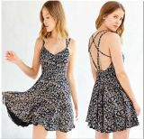 European Last Sexy Fashion Backless Flower Print Lady Dress