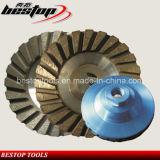 Roda de moedura de Turbo da roda do copo do diamante baixo de alumínio para o granito