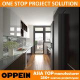 Gabinetes de cozinha de madeira do corredor de Brown HPL do projeto de Oppein Ásia (OP15-HPL02)