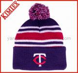 Beanie de réversible d'hiver tricoté par jacquard acrylique bon marché de douane