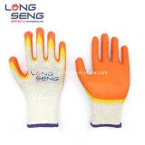 Двойной латекс гладкая бумага с покрытием Polycotton 10 труда защитные безопасность рабочей резиновые перчатки руки