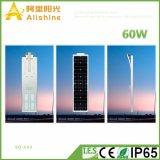 60W neuf DEL toute dans un réverbère solaire avec le contrôleur Integrated
