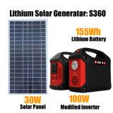 sistema de energia portátil da potência solar do gerador da energia 155wh/100W solar